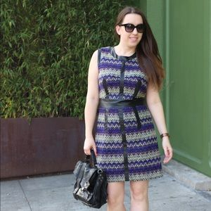 Milly Wool & Leather Purple Zig Zag Dress